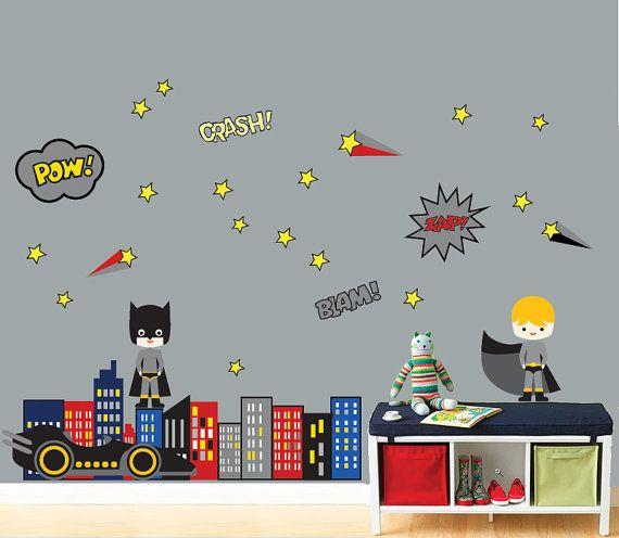 reusable superhero wall decal childrens wall decal