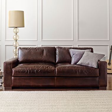 Signature leather 84quot sofa jcpenney homegoods for Jcpenney leather sectional sofa