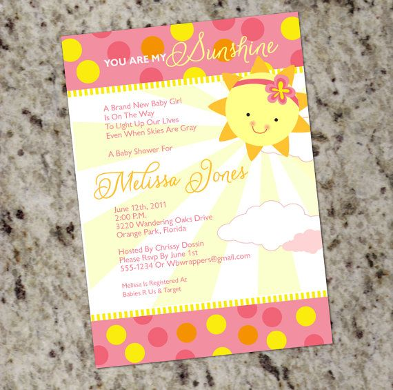 you are my sunshine baby shower invitations girly by whirlibird via
