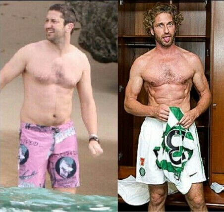 Gerard Butler before and during training for 300...awesome Gerard Butler