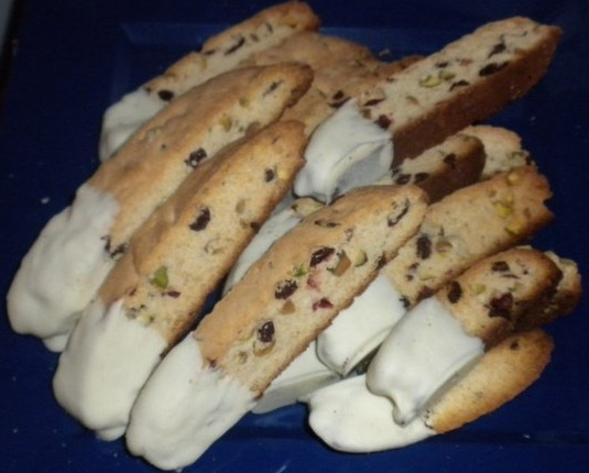 Cranberry And Pistachio Biscotti Dipped In White Chocolate ...