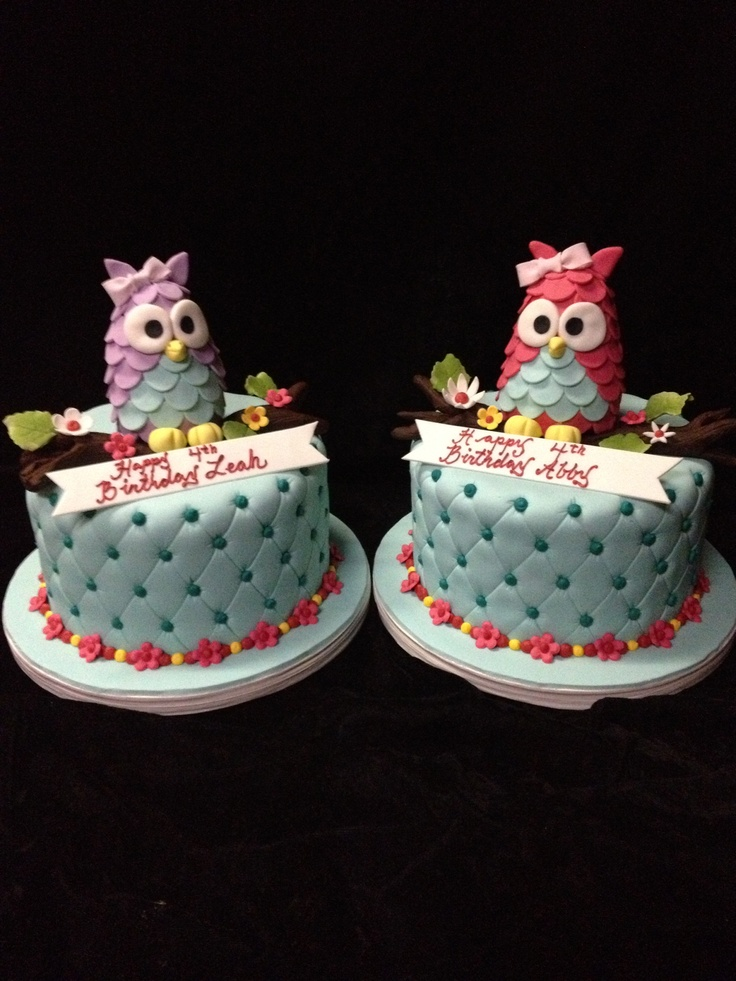 Owl birthday cakes for twins  1st Bday ideas  Pinterest