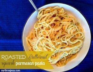 Roasted Butternut Squash Parmesan Pasta - Our Three Peas