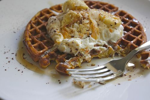 """... to make these! """"Coconut Waffles with Maple Cream"""" via Shutterbean"""