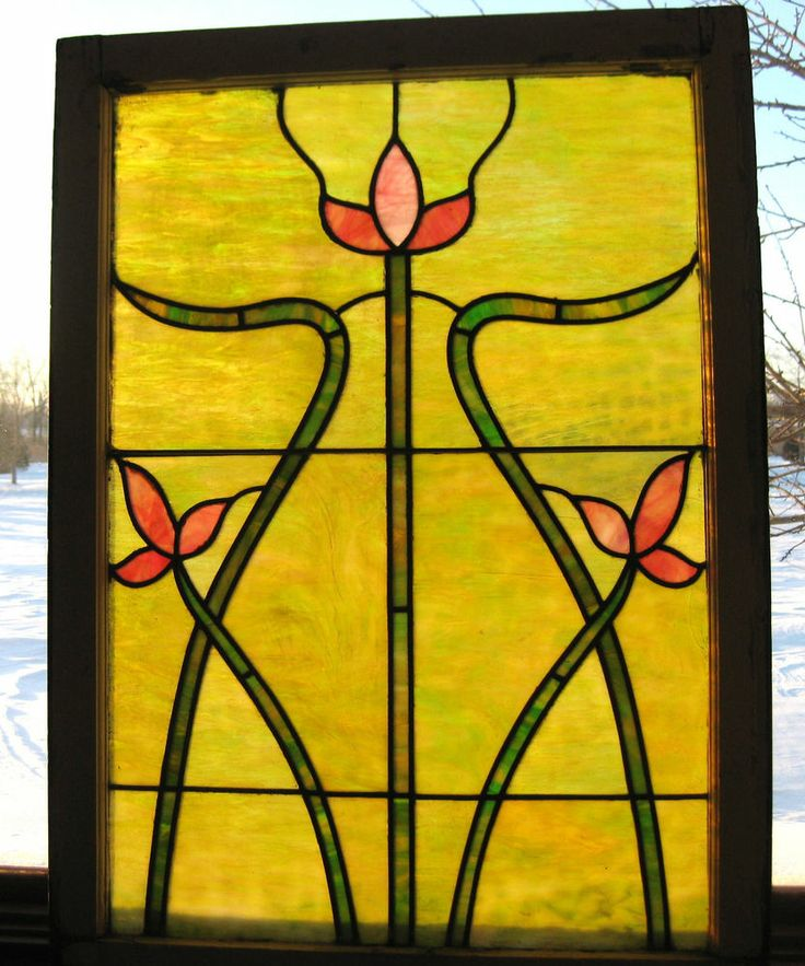 Antique art nouveau stained glass window with flowers ca for 1900 stained glass window