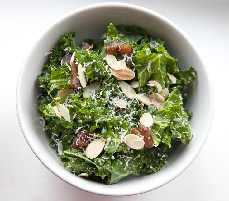 Kale Salad with Almonds, Dates & Parmesan Cheese - tossed in a Shallot ...