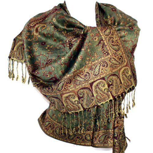 jacquard paisley pashmina shawl scarf stole sided