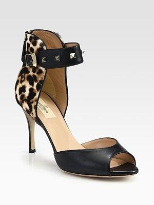 Valentino Rockstud Leather Ankle Strap Sandals