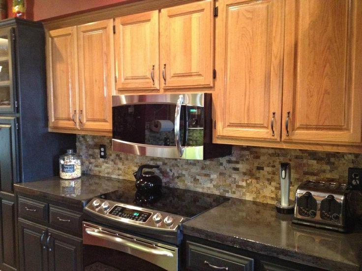 Kitchen concrete countertops Charcoal stain Epoxy finish Travertine