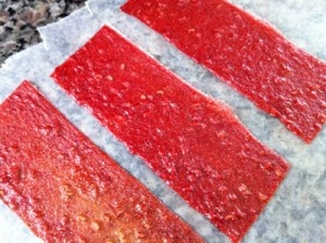 Raspberry Peach Fruit Leather (without a dehydrator!)