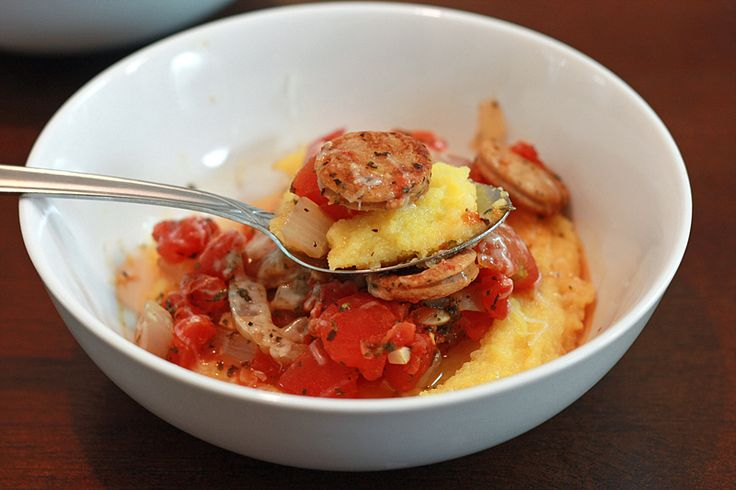 Parmesan Polenta with Spicy Sausage Sauce~