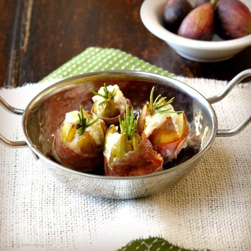 Goat cheese stuffed figs with prosciutto - great holiday appetizer!