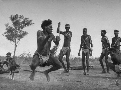 austrailian aborigines filled with the spirit of the kangaroo