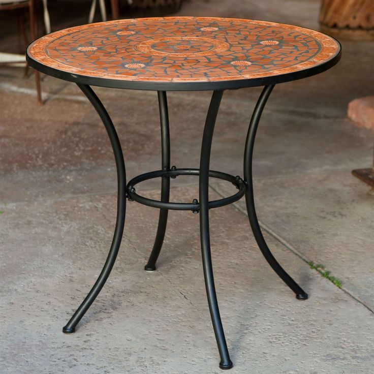 Round Outdoor Patio Bistro Table With Terracotta Mosaic Tiles Black