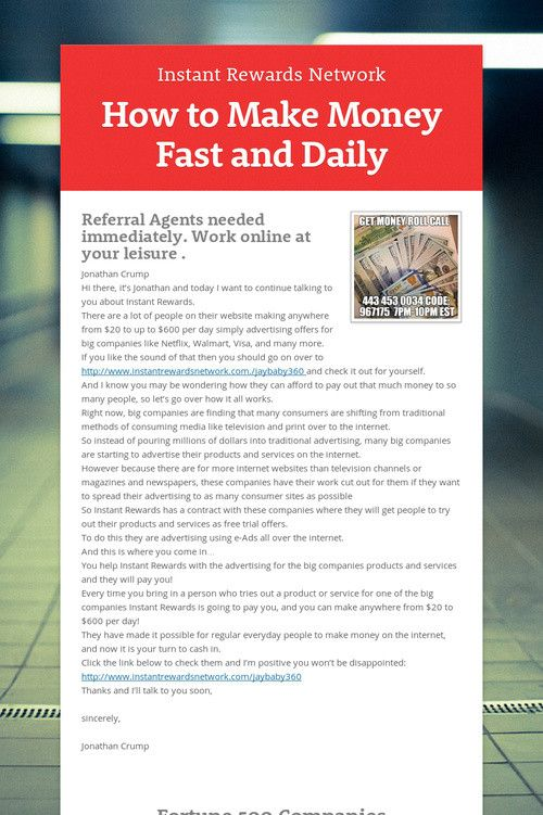 How to make money fast and daily