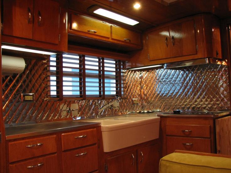 love the apron sink tin backsplash camper building ideas pinter