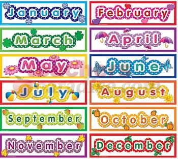 Months polka dot months headliners months of the year for Calendar bulletin board printables
