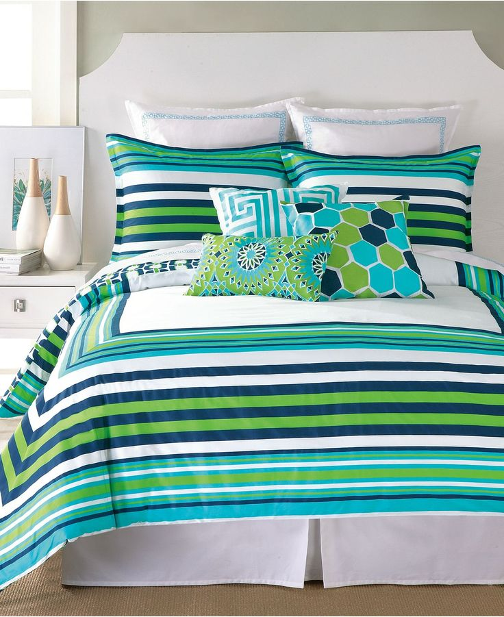 Closeout trina turk huntington stripe comforter and duvet cover sets