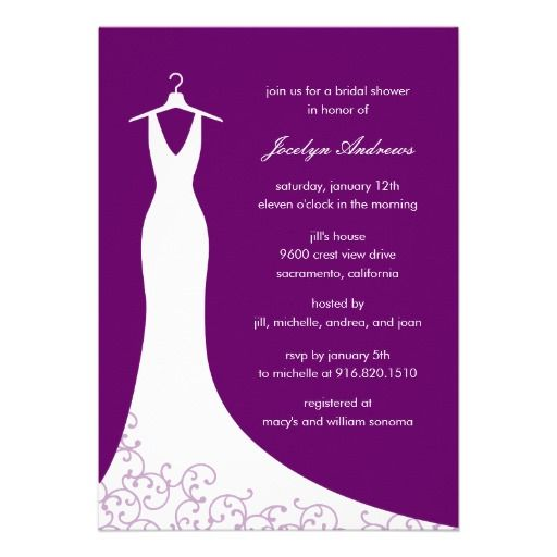 Couture Wedding Dress Bridal Shower Invitation