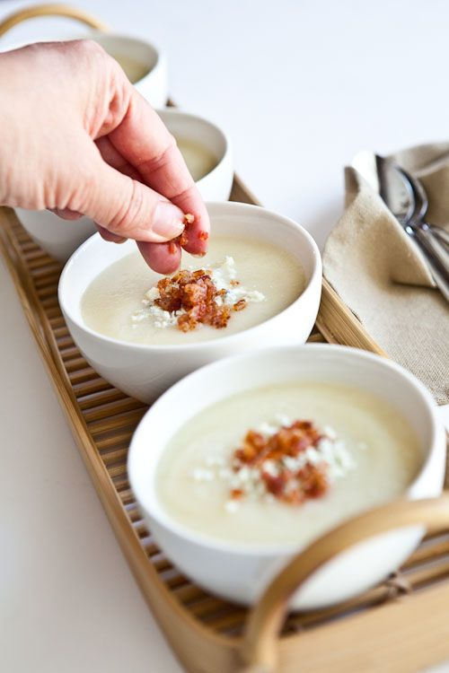 Creamy Cauliflower Soup with Bacon and Gorgonzola | Steamy Kitchen ...