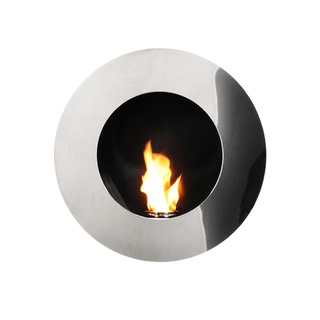 Round Stainless Steel Wall-mount Fireplace | Overstock.com