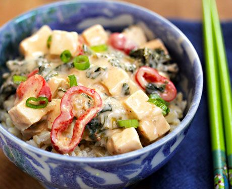 Recipe for vegan red curry tofu and kale with brown rice from The ...