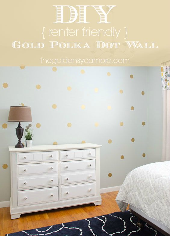 DIY Gold Polka Dot Wall using vinyl decals from @Matty Chuah House of Smiths (The House of Smiths)  - thegoldensycamore.com