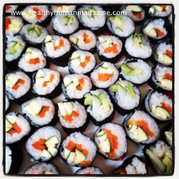 ... : Hand Rolled Cucumber Avocado and Zucchini Orange Pepper Sushi