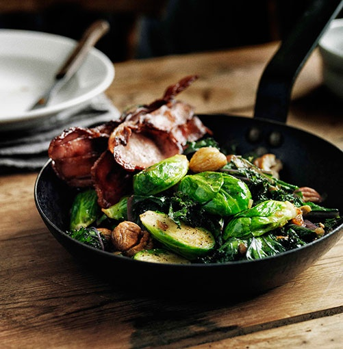 Sauteed brussel sprouts with curley kale, bacon and chestnuts. | Food ...