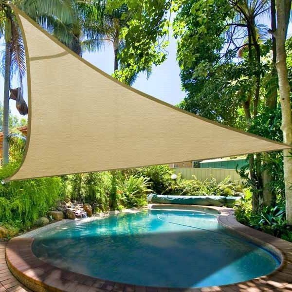 Backyard Awning Shade : New Deluxe Triangle Sun Shade Sail Patio Canopy