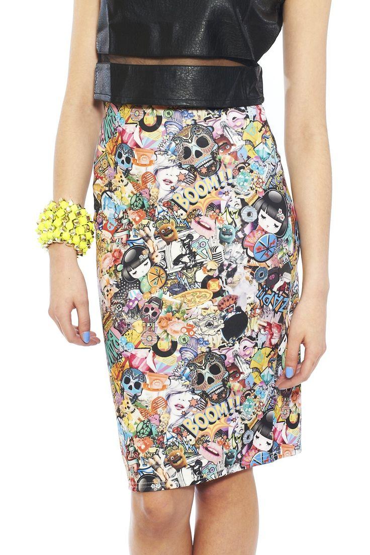 comic skirts | Comic print pencil skirt - Prints - TRENDS