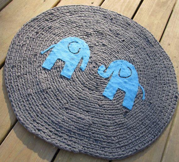 Crochet Elephant Rug : OOAK Upcycled Crochet Round T Shirt Rug. Elephant Rug. Nursery Rug ...