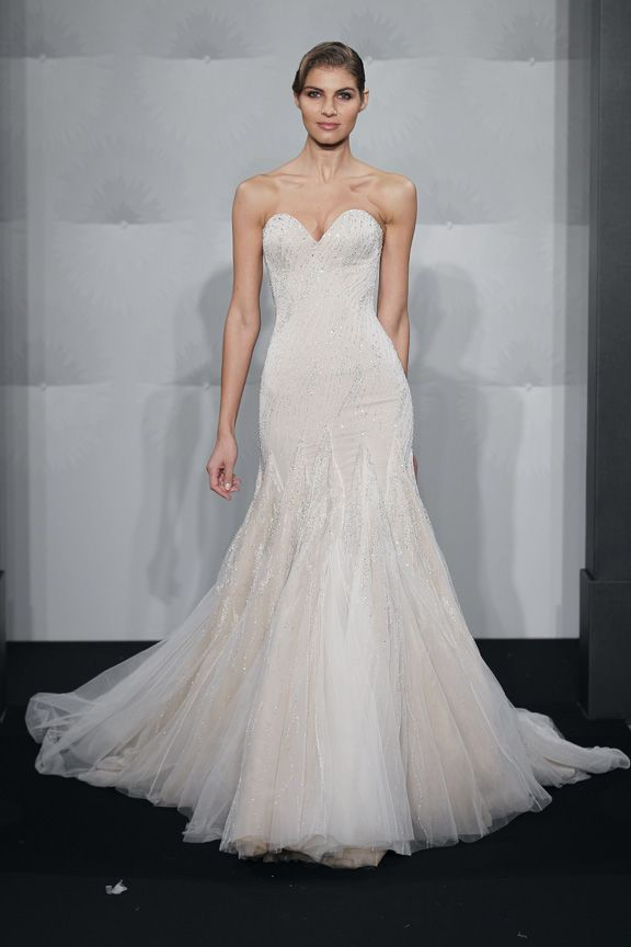 Mark zunino sweetheart mermaid gown in silk this mermaid for Kleinfeld mermaid wedding dresses