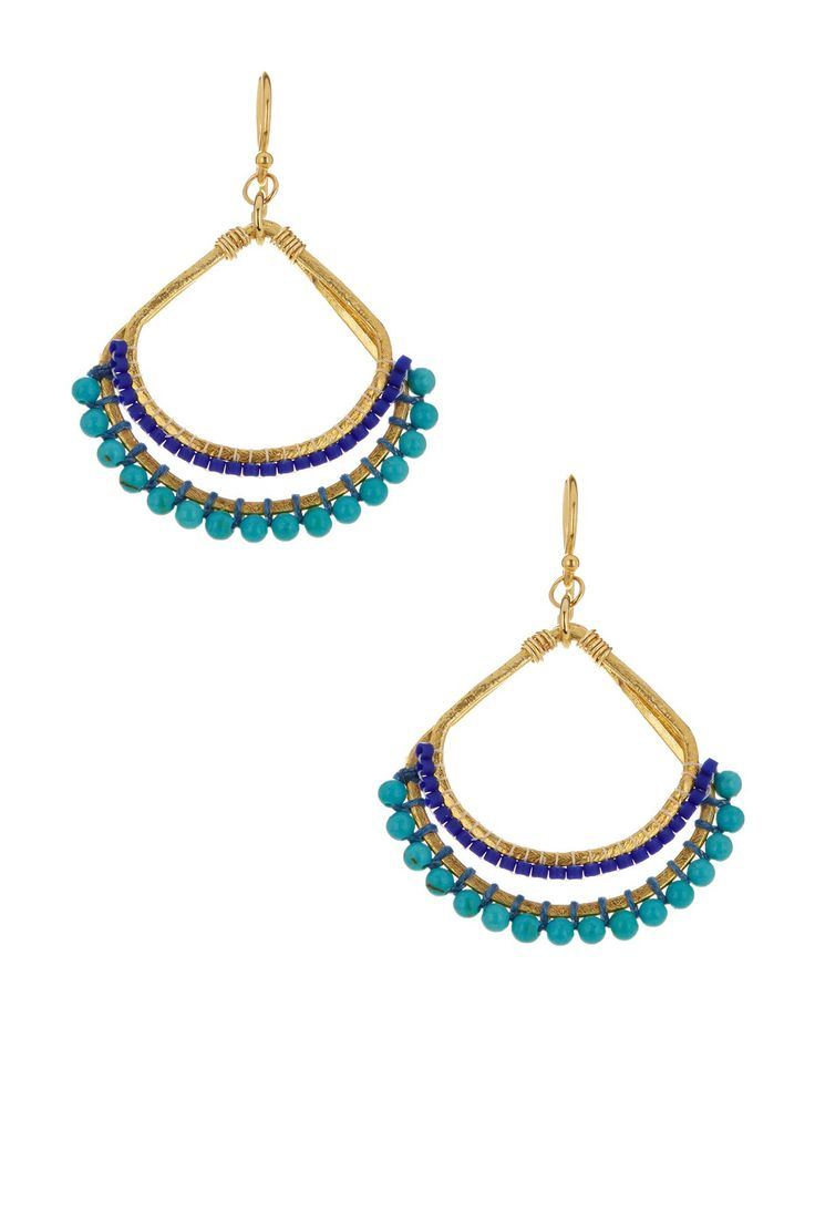 Turquoise & Japanese Seed Bead Fan Drop Earrings