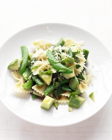 asparagus, snap pea, avocado pasta with garlic, mint and parmesan.