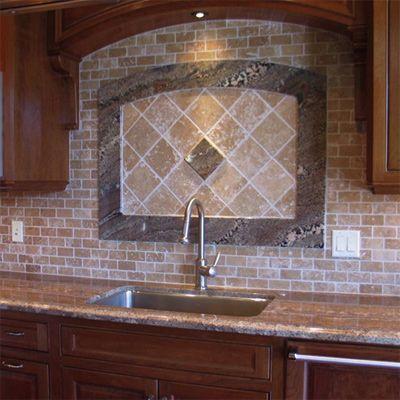 travertine backsplash tile kitchen pinterest