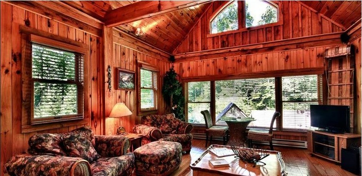 Pin by budget blinds official on log cabin window for Log cabin window treatments