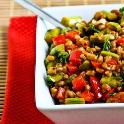 Farro Salad with Asparagus, Red Bell Pepper, and Sun-Dried Tomato Vin ...