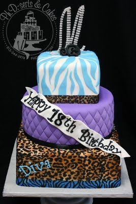 Leopard & Zebra Print Birthday Cake