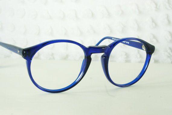 80s Glasses 1980s Round Eyeglasses Cobalt Blue ...
