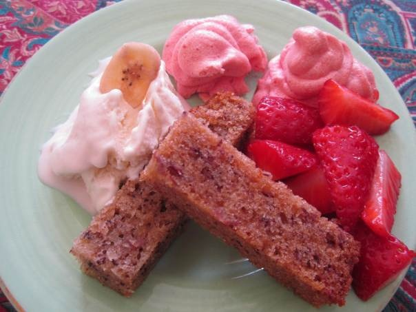 Banana cake with coconut ice cream and strawberry meringue from ...