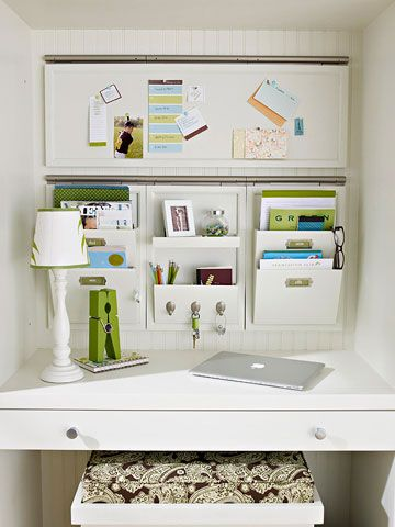 home office organization in a cubby