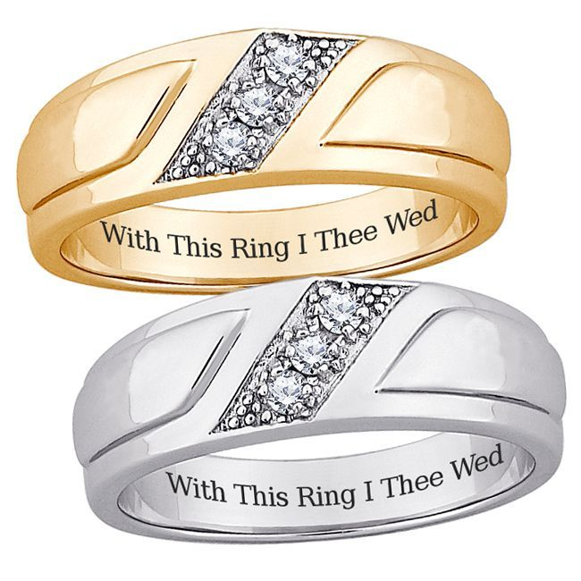 Sterling Silver Mens Cubic Zirconia Engraved Wedding