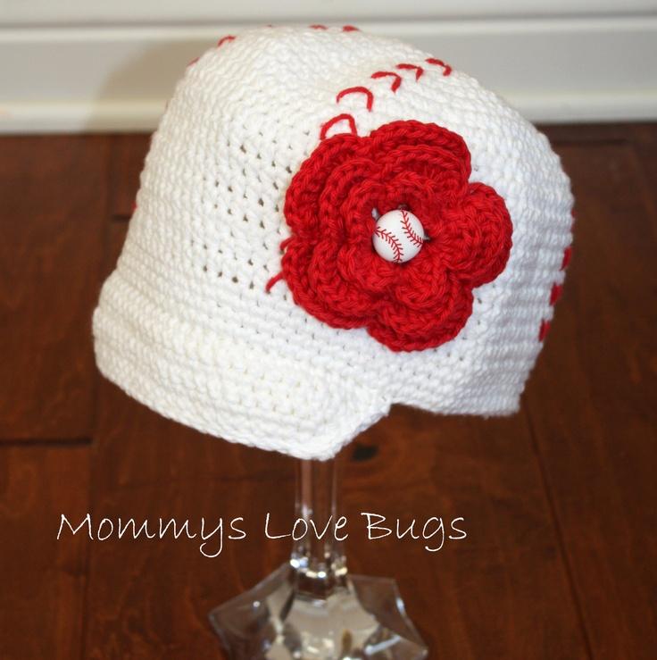 Baseball Crochet Brim Hat with Removable Flower Baseball Hair Clip ...