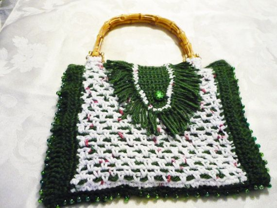 ... -White Crochet Bag with Wooden Handles and Beads, Handbag. Purse