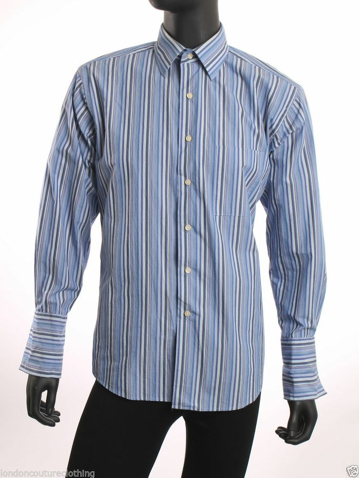 Bcbg attitude collar long sleeve french cuff mens dress for Mens dress shirts with cufflink holes