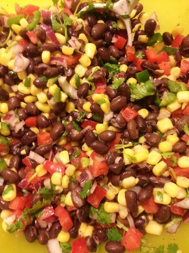 Black bean salad: black beans, corn, red bell peppers, jalapeno, red ...