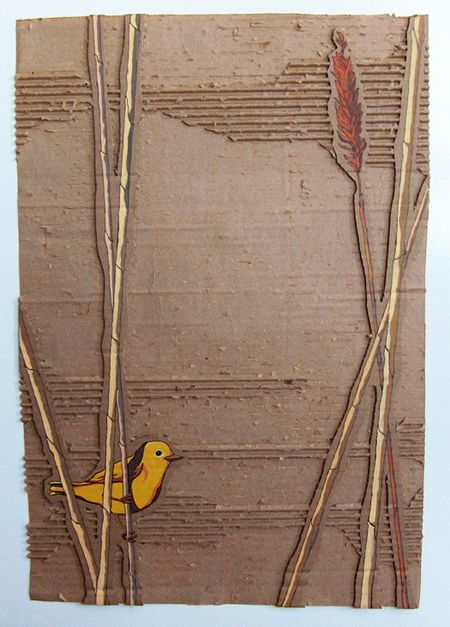 """Yellow Bird in Reeds"" - Acrylic on cardboard, 18""x28"""