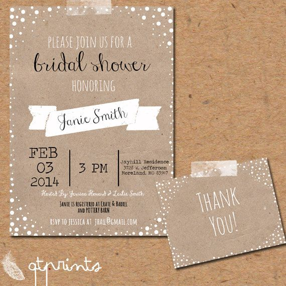 Rustic Bridal Shower Invitation With Matching Thank by QTPrints