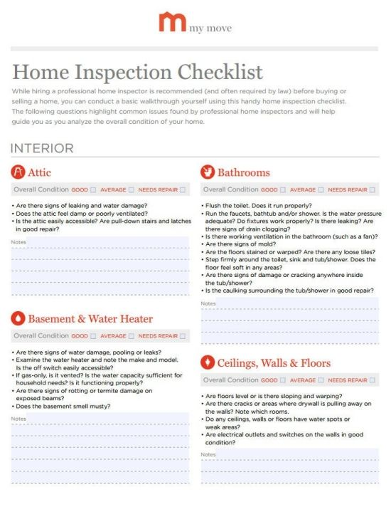 Home Inspection Checklist For The Home Pinterest